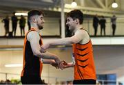 25 January 2020; Darragh Miniter of Nenagh Olympic AC, Tipperary, left, and Joseph Mc Evoy of Nenagh Olympic AC, embrace after competing in the Junior Men's 60m Hurdles during the Irish Life Health National Indoor Junior and U23 Championships at the AIT Indoor Arena in Athlone, Westmeath. Photo by Sam Barnes/Sportsfile