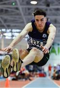 25 January 2020; Eoin Keenan of Emo/Rath AC, competing in the U23 Men's Long Jump during the Irish Life Health National Indoor Junior and U23 Championships at the AIT Indoor Arena in Athlone, Westmeath. Photo by Sam Barnes/Sportsfile