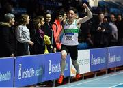 25 January 2020; Mark Smyth of Raheny Shamrock AC, Dublin, celebrates winning the U23 Men's 200m during the Irish Life Health National Indoor Junior and U23 Championships at the AIT Indoor Arena in Athlone, Westmeath. Photo by Sam Barnes/Sportsfile