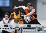 25 January 2020; Darragh Miniter of Nenagh Olympic AC, Tipperary, competing in the Junior Men's 60m Hurdles during the Irish Life Health National Indoor Junior and U23 Championships at the AIT Indoor Arena in Athlone, Westmeath. Photo by Sam Barnes/Sportsfile