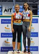 25 January 2020; Women's U23 60m Hurdles medallists, Sarah Quinn of St. Colmans South Mayo AC, gold, and Emily Russell of Galway City Harriers AC, bronze, during the Irish Life Health National Indoor Junior and U23 Championships at the AIT Indoor Arena in Athlone, Westmeath. Photo by Sam Barnes/Sportsfile