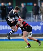 12 February 2020; Marcus Kiely of Newbridge College is tackled by Darragh O'Reilly of Kilkenny College during the Bank of Ireland Leinster Schools Senior Cup Second Round match between Kilkenny College and Newbridge College at Energia Park in Dublin. Photo by Piaras Ó Mídheach/Sportsfile