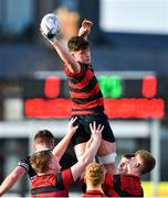 12 February 2020; Noah Pim of Kilkenny College wins possession in the line-out during the Bank of Ireland Leinster Schools Senior Cup Second Round match between Kilkenny College and Newbridge College at Energia Park in Dublin. Photo by Piaras Ó Mídheach/Sportsfile