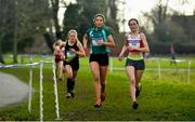 12 February 2020; Eimear Maher of Mount Anville, centre, leads Claragh Keane of Presentation Wexford on her way to winning the Intermediate Girls race during the Irish Life Health Leinster Schools' Cross Country Championships 2020 at Santry Demesne in Dublin. Photo by David Fitzgerald/Sportsfile
