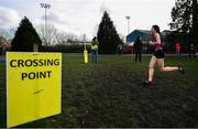 12 February 2020; Celine Gavin of St Dominics Cabra on her way to winning the Senior Girls race during the Irish Life Health Leinster Schools' Cross Country Championships 2020 at Santry Demesne in Dublin. Photo by David Fitzgerald/Sportsfile