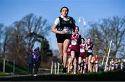 12 February 2020; Gara Williams of Castleknock Community College on her way to winning the Junior Girls race during the Irish Life Health Leinster Schools' Cross Country Championships 2020 at Santry Demesne in Dublin. Photo by David Fitzgerald/Sportsfile