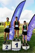 12 February 2020; Intermediate Boys race medallists, from left, Abdel Laadjel of Kisoge Community College, silver, Scott Fagan of Luttrellstown Community College, gold, and Dara O'Donoghue of Lucan Community College, bronze, during the Irish Life Health Leinster Schools' Cross Country Championships 2020 at Santry Demesne in Dublin. Photo by David Fitzgerald/Sportsfile