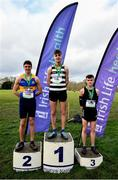 12 February 2020; Senior Boys race medallists, from left, Louis O'Loughlin of Moyle Park College, silver, Shay McEvoy of St Kieran's Kilkenny, gold, and Daniel Stone of Belvedere College, bronze, during the Irish Life Health Leinster Schools' Cross Country Championships 2020 at Santry Demesne in Dublin. Photo by David Fitzgerald/Sportsfile