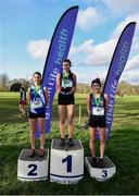 12 February 2020; Senior Girls race medallists, from left, Aoife Ní Chofaigh of Colaiste Cois Life, silver, Celine Gavin of St Dominics Cabra, gold, and Holly Brennan of Sacred Heart Drogheda, bronze, during the Irish Life Health Leinster Schools' Cross Country Championships 2020 at Santry Demesne in Dublin. Photo by David Fitzgerald/Sportsfile