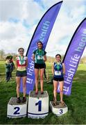 12 February 2020; Intermediate Girls race medallists, from left, Claragh Keane of Presenation Wexford, silver, Eimear Maher of Mount Anville, gold, and Pheobe Bate of Loreto Mullingar, bronze, during the Irish Life Health Leinster Schools' Cross Country Championships 2020 at Santry Demesne in Dublin. Photo by David Fitzgerald/Sportsfile