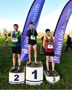 12 February 2020; First place team Jamie Byrne of Wesley College, centre, second place Archie Bremnar of East Glendalough School, left, and third place Billy Coogan of CBS Kilkenny following the Junior Boys race during the Irish Life Health Leinster Schools' Cross Country Championships 2020 at Santry Demesne in Dublin. Photo by David Fitzgerald/Sportsfile