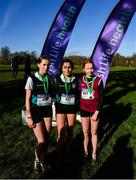 12 February 2020; First place team Gara Williams of Castleknock Community College, centre, second place Madeline Buckley of Castleknock Community College, left, and third place Sinead Walsh of Sacred Heart Tullamore following the Junior Girls race during the Irish Life Health Leinster Schools' Cross Country Championships 2020 at Santry Demesne in Dublin. Photo by David Fitzgerald/Sportsfile