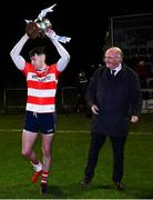 12 February 2020; CIT captain Kieran Murphy lifts the cup as Uachtarán Chumann Lúthchleas Gael John Horan looks on after the Trench Cup Final match between Mary Immaculate College Limerick and CIT at Dublin City University Sportsgrounds in Glasnevin, Dublin. Photo by Piaras Ó Mídheach/Sportsfile