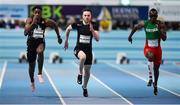 12 February 2020; Ojie Edoburun of Great Britain, left, on his way to winning his heat of the Wild Atlantic Apartments Men's 60m event, from second place Estela Garcia of Spain, right, and third place Kyle de Escofet of Great Britain, centre, during the AIT International Grand Prix 2020 at AIT International Arena in Athlone, Westmeath. Photo by Sam Barnes/Sportsfile