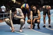 12 February 2020; Mark English of Ireland reacts after finishing fifth in the final of the Athletics Ireland Men's 600m event during the AIT International Grand Prix 2020 at AIT International Arena in Athlone, Westmeath. Photo by Sam Barnes/Sportsfile