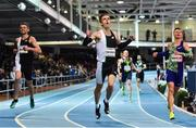 12 February 2020; Tony van Diepen of Netherlands celebrates after winning the final of the Ireland's Hidden Heartlands Men's 400m event, from second place Pavel Maslak of Czech Republic, right, and third place Thomas Barr of Ireland, left, during the AIT International Grand Prix 2020 at AIT International Arena in Athlone, Westmeath. Photo by Sam Barnes/Sportsfile