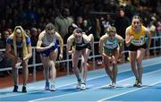 12 February 2020; Ciara Mageean of Ireland, centre, competes in the final of the TG4 Women's 3000m event during the AIT International Grand Prix 2020 at AIT International Arena in Athlone, Westmeath. Photo by Sam Barnes/Sportsfile