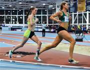 12 February 2020; Ciara Mageean of Ireland, left, on her way to winning the final of the TG4 Women's 3000m event, in a personal best time of 8:48.28, alongside Amy O'Donoghue, right, during the AIT International Grand Prix 2020 at AIT International Arena in Athlone, Westmeath. Photo by Sam Barnes/Sportsfile