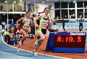 12 February 2020; Ciara Mageean of Ireland rounds a bend on the final lap on her way to winning the final of the TG4 Women's 3000m event, in a personal best time of 8:48.27, from second place Rosie Clarke of Great Britain, left, during the AIT International Grand Prix 2020 at AIT International Arena in Athlone, Westmeath. Photo by Sam Barnes/Sportsfile