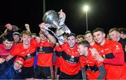 12 February 2020; UCC players celebrate after the Fitzgibbon Cup Final match between UCC and IT Carlow at Dublin City University Sportsgrounds in Glasnevin, Dublin. Photo by Piaras Ó Mídheach/Sportsfile