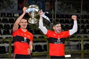 12 February 2020; UCC captains Paddy O'Loughlin, left, and Eoghan Murphy lift the cup after the Fitzgibbon Cup Final match between UCC and IT Carlow at Dublin City University Sportsgrounds in Glasnevin, Dublin. Photo by Piaras Ó Mídheach/Sportsfile