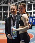 12 February 2020; Ciara Mageean of Ireland, with meet director Prof Ciarán Ó Catháin, after winning the final of the TG4 Women's 3000m event, in a personal best time of 8:48.27, during the AIT International Grand Prix 2020 at AIT International Arena in Athlone, Westmeath. Photo by Sam Barnes/Sportsfile