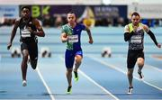 12 February 2020; Andy Robertson of Great Britain, right, on his way to winning the final of the Wild Atlantic Apartments Men's 60m event, from second place Ojie Edoburun of Great Britain, left, and third place Jan Veleba of Czech Republic, centre, during the AIT International Grand Prix 2020 at AIT International Arena in Athlone, Westmeath. Photo by Sam Barnes/Sportsfile