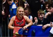 12 February 2020; Molly Scott of Ireland with supporters following the final of the Westmeath County Council Women's 60m event during the AIT International Grand Prix 2020 at AIT International Arena in Athlone, Westmeath. Photo by Sam Barnes/Sportsfile