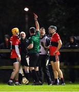 12 February 2020; Referee James Owens shows the red card to Niall O'Leary of UCC, left, during the Fitzgibbon Cup Final match between UCC and IT Carlow at Dublin City University Sportsgrounds in Glasnevin, Dublin. Photo by Piaras Ó Mídheach/Sportsfile