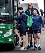 13 February 2020; Ireland players, from left, Robbie Henshaw, Dave Kilcoyne and Devin Toner get on the team bus after Ireland Rugby Squad Training at Irish Independent Park in Cork. Photo by Brendan Moran/Sportsfile