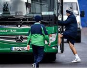 13 February 2020; Jordan Larmour gets on the team bus after Ireland Rugby Squad Training at Irish Independent Park in Cork. Photo by Brendan Moran/Sportsfile