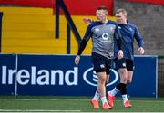 13 February 2020; Andrew Conway, left, and Keith Earls during Ireland Rugby Squad Training at Irish Independent Park in Cork. Photo by Brendan Moran/Sportsfile