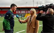 13 February 2020; Peter O'Mahony is interviewed by Jacqui Hurley of RTÉ after Ireland Rugby Squad Training at Irish Independent Park in Cork. Photo by Brendan Moran/Sportsfile