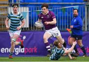 13 February 2020; Michael Spillane of Clongowes Wood College evades the tackle of Craig Kenny of St Gerards School during the Bank of Ireland Leinster Schools Senior Cup Second Round match between Clongowes Wood College and St Gerard's School at Energia Park in Dublin. Photo by Matt Browne/Sportsfile