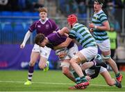 13 February 2020; Killian Fitzpatrick of Clongowes Wood College is tackled by Thomas O'Connor and Saul Fitzpatrick of St Gerards School during the Bank of Ireland Leinster Schools Senior Cup Second Round match between Clongowes Wood College and St Gerard's School at Energia Park in Dublin. Photo by Matt Browne/Sportsfile