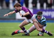 13 February 2020; Oisin Devitt of Clongowes Wood College is tackled by Max Merrin of St Gerards School during the Bank of Ireland Leinster Schools Senior Cup Second Round match between Clongowes Wood College and St Gerard's School at Energia Park in Dublin. Photo by Matt Browne/Sportsfile