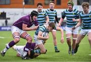 13 February 2020; Cormac Long of St Gerards School is tackled by Jack Kearney of Clongowes Wood College during the Bank of Ireland Leinster Schools Senior Cup Second Round match between Clongowes Wood College and St Gerard's School at Energia Park in Dublin. Photo by Joe Walsh/Sportsfile