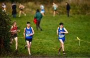 13 February 2020; Niall Murphy of St Flannans Ennis, Clare, right, competing in the intermediate boys 5000m race during the Irish Life Health Munster Schools' Cross Country Championships 2020 at Clarecastle in Clare. Photo by Eóin Noonan/Sportsfile