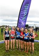 13 February 2020; Top six finishers following the intermediate girls 3000m race during the Irish Life Health Munster Schools' Cross Country Championships 2020 at Clarecastle in Clare. Photo by Eóin Noonan/Sportsfile