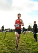 13 February 2020; Adam Kiely of CBC, Cork, crosses the line to claim third place in the intermediate boys 5000m race during the Irish Life Health Munster Schools' Cross Country Championships 2020 at Clarecastle in Clare. Photo by Eóin Noonan/Sportsfile
