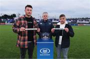 13 February 2020; Leinster Rugby President Robert Deacon with Leinster players Will Connors, left, and Rowan Osborne during the 2020 Bank of Ireland Leinster Rugby Schools Senior Cup Semi-Final Draw at Energia Park in Donnybrook, Dublin. Photo by Matt Browne/Sportsfile