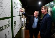 13 February 2020; Former Republic of Ireland international Ray Houghton and Republic of Ireland U21 manager Stephen Kenny, right, during the National Football Exhibition Launch at the County Museum in Dundalk, Co Louth. The Football Association of Ireland, Dublin City Council and The Department of Transport, Tourism and Sport have joined forces to create a National Football Exhibition as part of the build up to Ireland's Aviva Stadium playing host to four matches in the UEFA EURO 2020 Championships in June. The Exhibition is a celebration of Irish football and 60 Years of the European Championships. The Exhibition will be running in the County Museum, Dundalk, Co. Louth from February 14th – 29th. Photo by Stephen McCarthy/Sportsfile