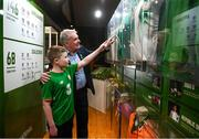 13 February 2020; Former Republic of Ireland international Ray Houghton with Shea Mulholland, age 12, from Portadown, Armagh, during the National Football Exhibition Launch at the County Museum in Dundalk, Co Louth. The Football Association of Ireland, Dublin City Council and The Department of Transport, Tourism and Sport have joined forces to create a National Football Exhibition as part of the build up to Ireland's Aviva Stadium playing host to four matches in the UEFA EURO 2020 Championships in June. The Exhibition is a celebration of Irish football and 60 Years of the European Championships. The Exhibition will be running in the County Museum, Dundalk, Co. Louth from February 14th – 29th. Photo by Stephen McCarthy/Sportsfile