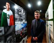 13 February 2020; Republic of Ireland U21 manager Stephen Kenny during the National Football Exhibition Launch at the County Museum in Dundalk, Co Louth. The Football Association of Ireland, Dublin City Council and The Department of Transport, Tourism and Sport have joined forces to create a National Football Exhibition as part of the build up to Ireland's Aviva Stadium playing host to four matches in the UEFA EURO 2020 Championships in June. The Exhibition is a celebration of Irish football and 60 Years of the European Championships. The Exhibition will be running in the County Museum, Dundalk, Co. Louth from February 14th – 29th. Photo by Stephen McCarthy/Sportsfile