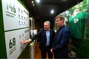 13 February 2020; Former Republic of Ireland international Ray Houghton, left, and Republic of Ireland U21 manager Stephen Kenny during the National Football Exhibition Launch at the County Museum in Dundalk, Co Louth. The Football Association of Ireland, Dublin City Council and The Department of Transport, Tourism and Sport have joined forces to create a National Football Exhibition as part of the build up to Ireland's Aviva Stadium playing host to four matches in the UEFA EURO 2020 Championships in June. The Exhibition is a celebration of Irish football and 60 Years of the European Championships. The Exhibition will be running in the County Museum, Dundalk, Co. Louth from February 14th – 29th. Photo by Stephen McCarthy/Sportsfile