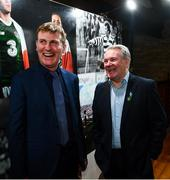 13 February 2020; Former Republic of Ireland international Ray Houghton, right, and Republic of Ireland U21 manager Stephen Kenny during the National Football Exhibition Launch at the County Museum in Dundalk, Co Louth. The Football Association of Ireland, Dublin City Council and The Department of Transport, Tourism and Sport have joined forces to create a National Football Exhibition as part of the build up to Ireland's Aviva Stadium playing host to four matches in the UEFA EURO 2020 Championships in June. The Exhibition is a celebration of Irish football and 60 Years of the European Championships. The Exhibition will be running in the County Museum, Dundalk, Co. Louth from February 14th – 29th. Photo by Stephen McCarthy/Sportsfile
