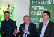 13 February 2020; Former Republic of Ireland international Ray Houghton, centre, with Republic of Ireland U21 manager Stephen Kenny, left, and former Republic of Ireland international and current FAI Interim Deputy Chief Executive Niall Quinn, right, during the National Football Exhibition Launch at the County Museum in Dundalk, Co Louth. The Football Association of Ireland, Dublin City Council and The Department of Transport, Tourism and Sport have joined forces to create a National Football Exhibition as part of the build up to Ireland's Aviva Stadium playing host to four matches in the UEFA EURO 2020 Championships in June. The Exhibition is a celebration of Irish football and 60 Years of the European Championships. The Exhibition will be running in the County Museum, Dundalk, Co. Louth from February 14th – 29th. Photo by Stephen McCarthy/Sportsfile