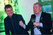 13 February 2020; Former Republic of Ireland international Ray Houghton and Republic of Ireland U21 manager Stephen Kenny, left, during the National Football Exhibition Launch at the County Museum in Dundalk, Co Louth. The Football Association of Ireland, Dublin City Council and The Department of Transport, Tourism and Sport have joined forces to create a National Football Exhibition as part of the build up to Ireland's Aviva Stadium playing host to four matches in the UEFA EURO 2020 Championships in June. The Exhibition is a celebration of Irish football and 60 Years of the European Championships. The Exhibition will be running in the County Museum, Dundalk, Co. Louth from February 14th – 29th. Photo by Stephen McCarthy/Sportsfile