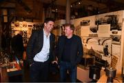 13 February 2020; Former Republic of Ireland international and current FAI Interim Deputy Chief Executive Niall Quinn, left, and former Republic of Ireland player and manager Steve Staunton during the National Football Exhibition Launch at the County Museum in Dundalk, Co Louth. The Football Association of Ireland, Dublin City Council and The Department of Transport, Tourism and Sport have joined forces to create a National Football Exhibition as part of the build up to Ireland's Aviva Stadium playing host to four matches in the UEFA EURO 2020 Championships in June. The Exhibition is a celebration of Irish football and 60 Years of the European Championships. The Exhibition will be running in the County Museum, Dundalk, Co. Louth from February 14th – 29th. Photo by Stephen McCarthy/Sportsfile