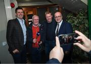 13 February 2020; Former Republic of Ireland international and current FAI Interim Deputy Chief Executive Niall Quinn, left, and former Republic of Ireland player and manager Steve Staunton pose for a photograph with Martin Connolly, Dundalk General Manager, and Gerry Kelly, LMFM, during the National Football Exhibition Launch at the County Museum in Dundalk, Co Louth. The Football Association of Ireland, Dublin City Council and The Department of Transport, Tourism and Sport have joined forces to create a National Football Exhibition as part of the build up to Ireland's Aviva Stadium playing host to four matches in the UEFA EURO 2020 Championships in June. The Exhibition is a celebration of Irish football and 60 Years of the European Championships. The Exhibition will be running in the County Museum, Dundalk, Co. Louth from February 14th – 29th. Photo by Stephen McCarthy/Sportsfile